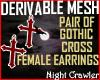 Goth Cross Earings Mesh