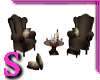 S Brown Arm Chairs