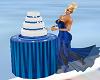 blue trim wedding cake