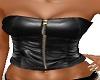 black leather zip top