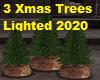 3 Lit Xmas Trees 2020