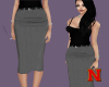 Grey waisted calf skirt