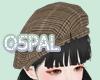 brown check beret F