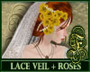 Lace Veil + Yellow Roses