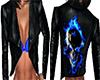 Flaming Blue Skull Vest