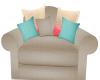 ~SR~Coral and Aqua Chair