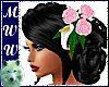 Wed Anne Blk w/Pink Rose
