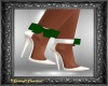 White Heels w Green Bow