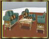 Antique Teal Sofa Set