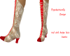 red and beige lace boots