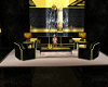 sofa set blk/gld
