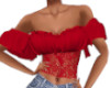 Country Red Lace Top