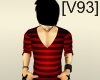 [V93]V NECK RED STRIPPED